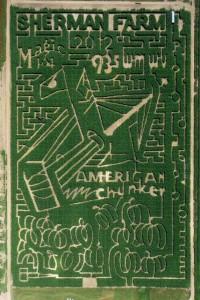 aerial image of American Chunker Corn Maze