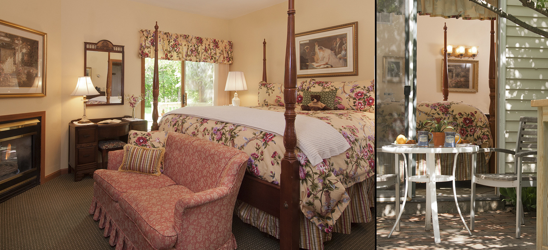 Fireplace with picture above, dressing table with mirror, rose loveseat, king four poster bed with floral bedding, sliding glass door to patio with table & chairs