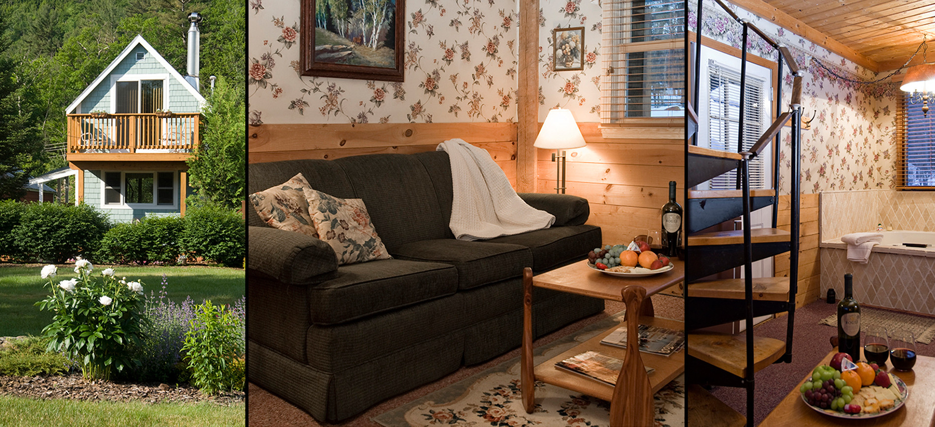 Guest cottage with green loveseat, canoe paddle coffee table, Adirondack shelving, narrow spiral staircase to second floor, green exterior of cottage with balcony in summer