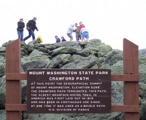 sign at end of Crawford Trail at Mt. Washington summit