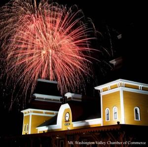 fireworks above train station
