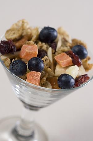 granola in stemmed dish