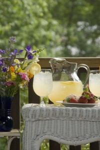 lemonade and strawberries in gazebo