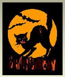 black  cat and orange moon